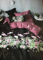 7 Részes Ágynemű Garnitúra Flamingó - Fekete