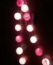 Elemes LED gömb fényfüzér színes