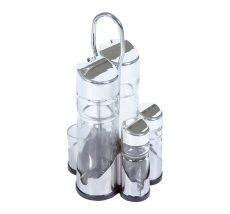 5 részes fűszertartó készlet tartóval, üveg