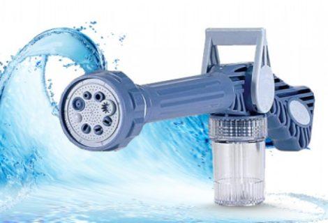 Multifunkciós vízágyú locsolófej beépített mosószertartállyal