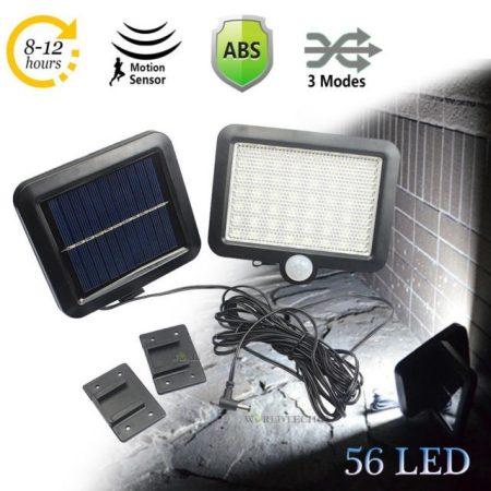 Napelemes lámpa - vízálló, mozgásérzékelő 56 LED